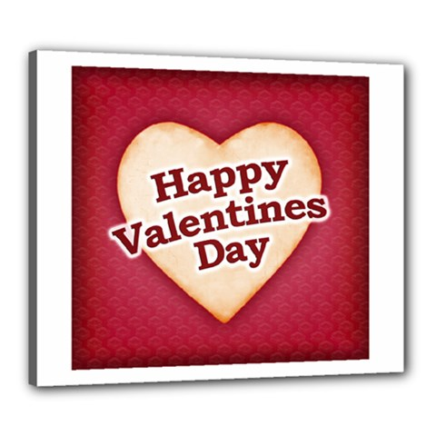 Heart Shaped Happy Valentine Day Text Design Canvas 24  x 20  (Framed)