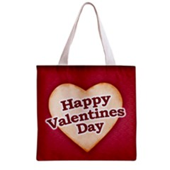 Heart Shaped Happy Valentine Day Text Design Grocery Tote Bag