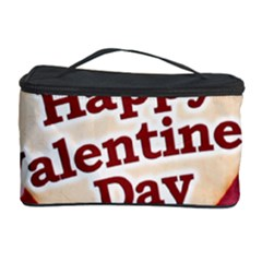 Heart Shaped Happy Valentine Day Text Design Cosmetic Storage Case