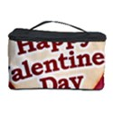 Heart Shaped Happy Valentine Day Text Design Cosmetic Storage Case View1