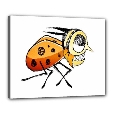 Funny Bug Running Hand Drawn Illustration Canvas 20  X 16  (framed)