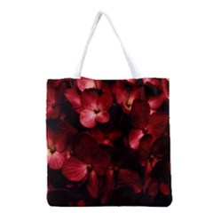 Red Flowers Bouquet in Black Background Photography Grocery Tote Bag