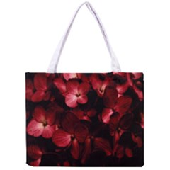 Red Flowers Bouquet in Black Background Photography Tiny Tote Bag