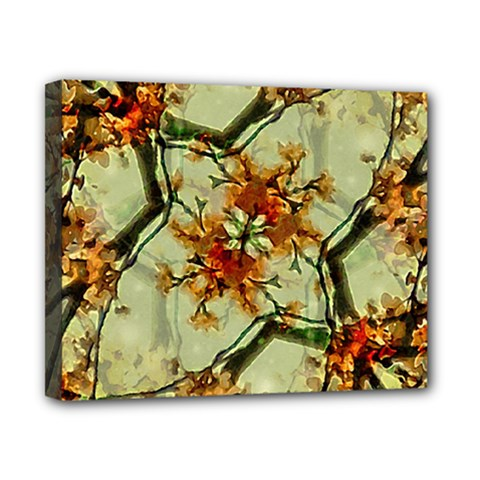 Floral Motif Print Pattern Collage Canvas 10  x 8  (Framed)