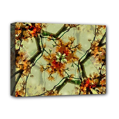 Floral Motif Print Pattern Collage Deluxe Canvas 16  X 12  (framed)