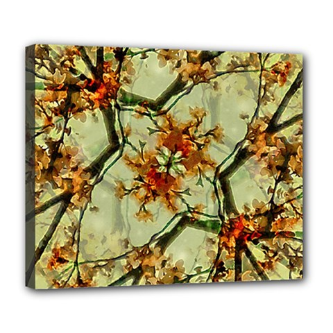 Floral Motif Print Pattern Collage Deluxe Canvas 24  X 20  (framed)