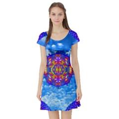Sky Horizon Short Sleeved Skater Dress