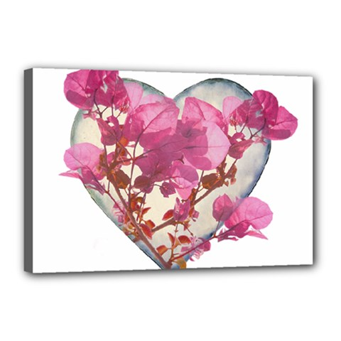 Heart Shaped With Flowers Digital Collage Canvas 18  X 12  (framed)