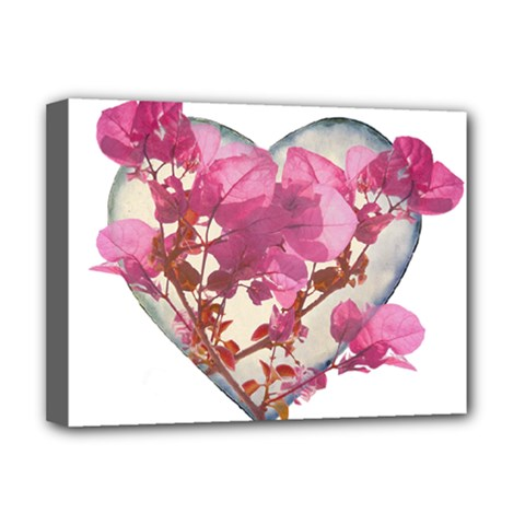 Heart Shaped With Flowers Digital Collage Deluxe Canvas 16  X 12  (framed)