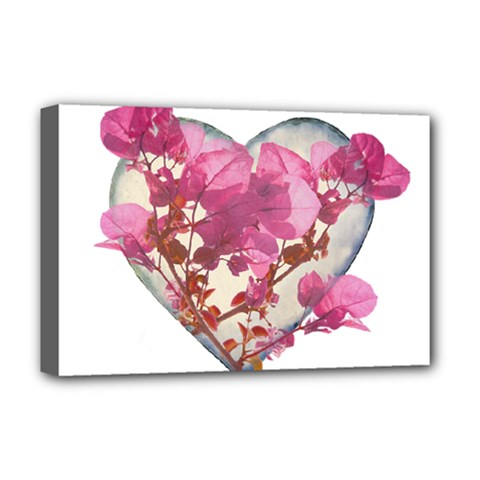 Heart Shaped with Flowers Digital Collage Deluxe Canvas 18  x 12  (Framed)