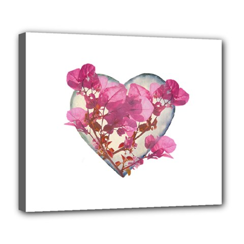 Heart Shaped With Flowers Digital Collage Deluxe Canvas 24  X 20  (framed)