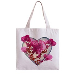 Heart Shaped with Flowers Digital Collage Grocery Tote Bag