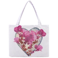 Heart Shaped with Flowers Digital Collage Tiny Tote Bag