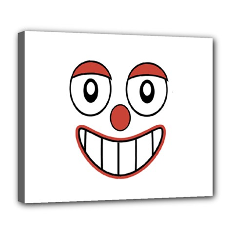 Happy Clown Cartoon Drawing Deluxe Canvas 24  x 20  (Framed)