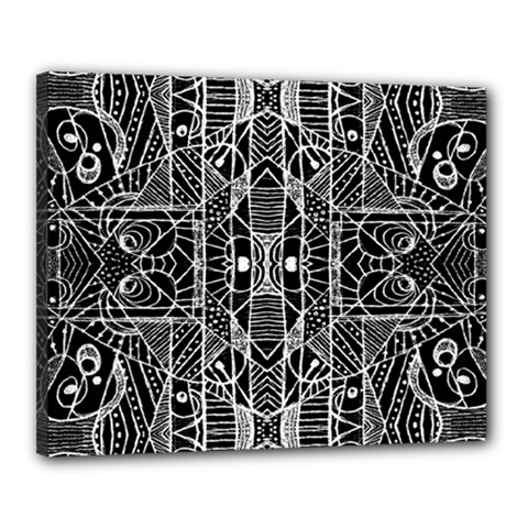 Black And White Tribal Geometric Pattern Print Canvas 20  X 16  (framed)
