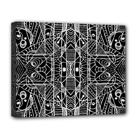 Black And White Tribal Geometric Pattern Print Deluxe Canvas 20  X 16  (framed)