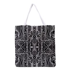 Black and White Tribal Geometric Pattern Print Grocery Tote Bag