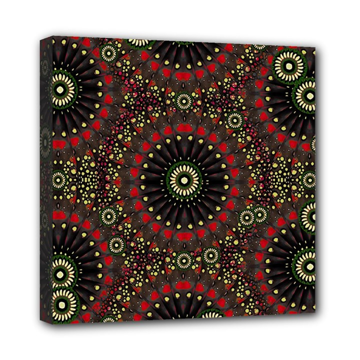 Digital Abstract Geometric Pattern in Warm Colors Mini Canvas 8  x 8  (Framed)