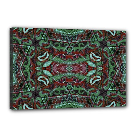 Tribal Ornament Pattern In Red And Green Colors Canvas 18  X 12  (framed)