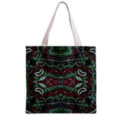 Tribal Ornament Pattern in Red and Green Colors Grocery Tote Bag