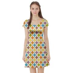 Colorful rhombus pattern Short Sleeved Skater Dress
