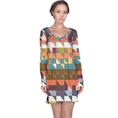 Shapes in retro colors Long Sleeve Nightdress