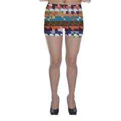 Shapes in retro colors Skinny Shorts