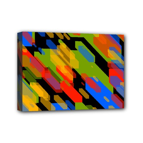 Colorful Shapes On A Black Background Mini Canvas 7  X 5  (stretched)
