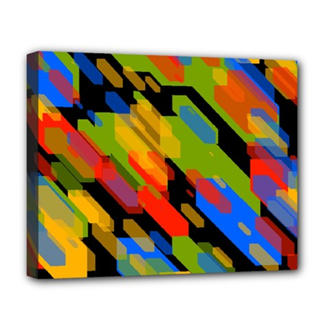 Colorful Shapes On A Black Background Deluxe Canvas 20  X 16  (stretched)
