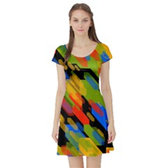 Colorful Shapes On A Black Background Short Sleeved Skater Dress