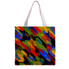 Colorful shapes on a black background Grocery Tote Bag