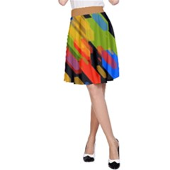 Colorful Shapes On A Black Background A Line Skirt