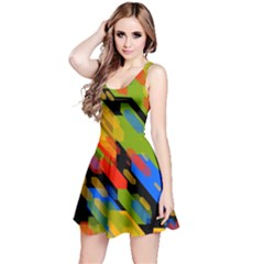 Colorful shapes on a black background Sleeveless Dress