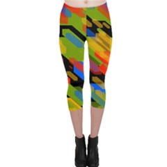 Colorful shapes on a black background Capri Leggings