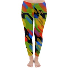 Colorful shapes on a black background Winter Leggings