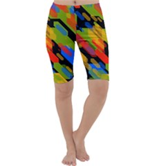 Colorful shapes on a black background Cropped Leggings