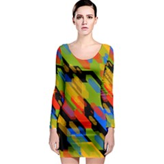 Colorful shapes on a black background Long Sleeve Bodycon Dress