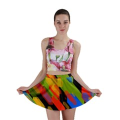 Colorful shapes on a black background Mini Skirt