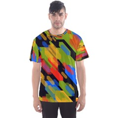 Colorful shapes on a black background Men s Sport Mesh Tee