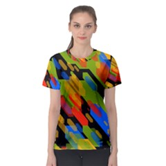 Colorful shapes on a black background Women s Sport Mesh Tee