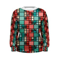Red and green squares pattern Women s Sweatshirt