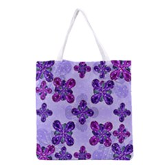 Deluxe Ornate Pattern Design In Blue And Fuchsia Colors Grocery Tote Bag