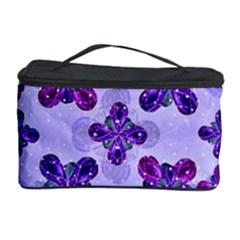 Deluxe Ornate Pattern Design In Blue And Fuchsia Colors Cosmetic Storage Case
