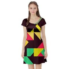 Shapes In Retro Colors 2 Short Sleeved Skater Dress