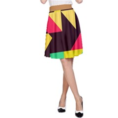 Shapes in retro colors 2 A-Line Skirt