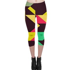 Shapes in retro colors 2 Capri Leggings