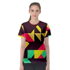 Shapes in retro colors 2 Women s Sport Mesh Tee