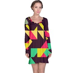 Shapes In Retro Colors 2 Long Sleeve Nightdress