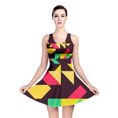 Shapes in retro colors 2 Reversible Skater Dress