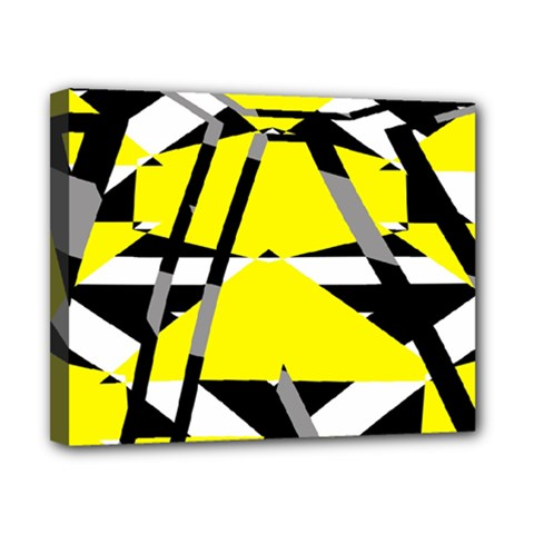 Yellow, Black And White Pieces Abstract Design Canvas 10  X 8  (stretched)